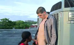 Gay blowjob for young interracial dudes outdoors