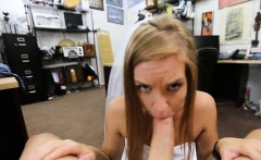 Babe pawns her wedding dress and fucked at the pawnshop
