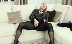 Mature Woman In Pantyhose Teasing Her Body