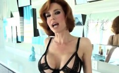 Busty redhead MILF twitches when her butt is fingered