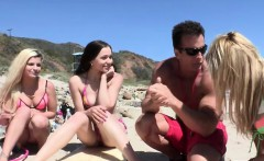 Two horny surfer girls having fun and share a hard man meat