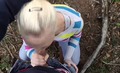 Dirty Blowjob and Facial in Woods