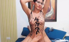busty babe wearing glasses fucks hard with her bf