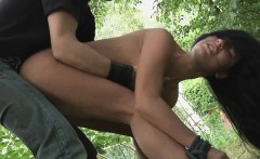 Hotied and mouth fucked in the woods