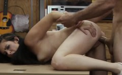 Amateur brunette babe fucked by pawn guy in the backroom