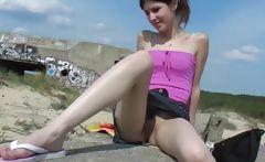 brunette teen upskirt at beach