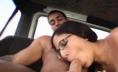 Busty girl in glasses fellating huge dick in bus