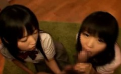 Schoolgirl Friends Share A Cock