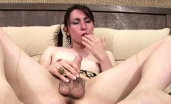 Dripping honey makes her thick shemale cock sticky and sweet