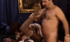 Wealthy white stud fucks 2 horny prostitutes in lingerie