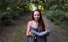 girl received cum facial in public park