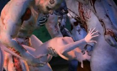 Foxy 3D cartoon babe getting gang banged by zombies