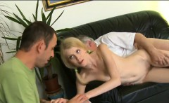lovely young babe rides cock of an old man and then licks it