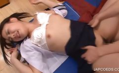 Japanese coed gets pussy fucked