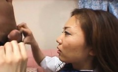 Pretty Asian has pussy masturbated before giving harsh blowj