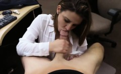 Big juggs MILF sucks off and pounded at the pawnshop