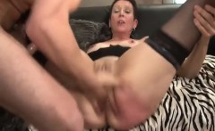 Mature slut facialized and gets fisted