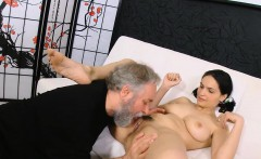 Delicious young chick takes old wicked cock in her mouth