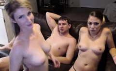Lucky guy is joined by a blonde and a brunette for a steamy