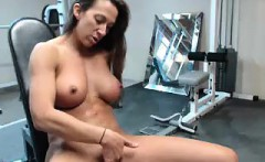 athletic brunette with big boobs works out her fiery pussy