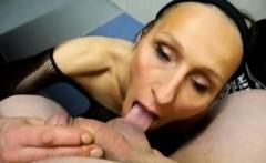 Naughty mature woman wraps his sweet lips around a huge dic