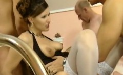 perfect brunette whore with nice body and slutty face takes