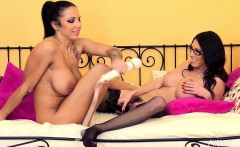 Ravishing lesbian lovers Lylith and Dava have some fun with sex toys