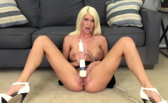 wild blonde in high heels riley jenner feeds her lust for masturbation