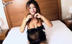 Big titted ladyboy masturbates with her hands and a toy