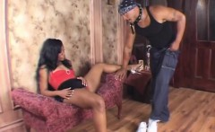 slender ebony girl working her mouth and her twat on a big black dick