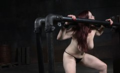 Restrained redhead sub gets pussy punished