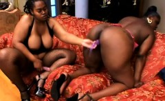 Curvy black ladies use toys, fingers and tongues to please each other