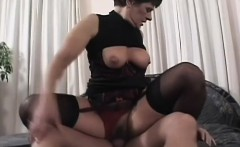 lusty granny gets turned on and fucks a hung and sexy stallion