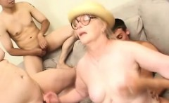 Saggy tit granny gets drilled by three horny dudes and eats cum