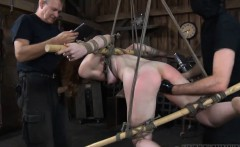 Sexy babe gets her smooth ass whipped during torture