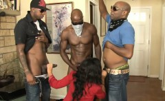 Kinky babe anal pounded and swallows cum by black cocks
