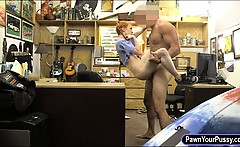 Very tight redhead babe pawns pussy and fucked by pawn guy