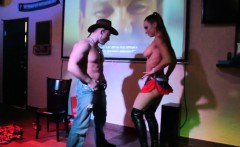 Horny cowboy gets on the stage with a sexy chick and perfor