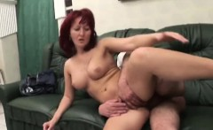 Mature redhead slammed by one legged guy