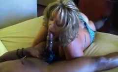 Sexy blonde in open crotch stockings tries a black man for