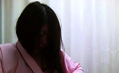 Long-haired Asian tart gets filmed while changing her tight