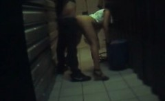 hidden cam catches a horny couple going for a quickie in th
