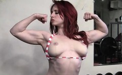 Beautiful Redhead Works Out Topless