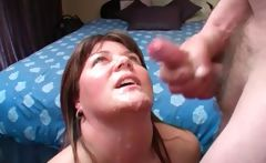 Chubby amateur girl loves tasting cum