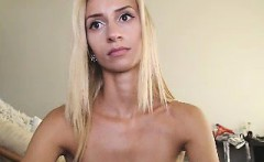Nubile blonde with small boobies wears tiny white panties a