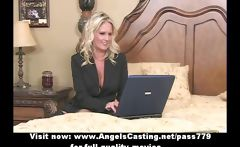 Bored blonde milf with laptop undressing and toying pussy