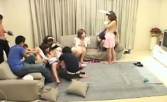 Horny young Asian chicks in maid costumes take a fingering