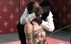 Young slave disciplined and roped by maledom