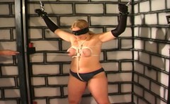 Chubby blonde sex slave gets tied and spanked