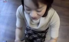 Japanese gets on knees to give blowjob